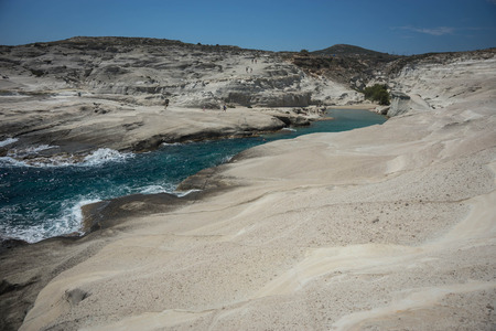 Moonscape beach Sarakiniko on Milos island in Greece Stock Photo