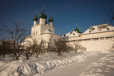 Image of Rostov Kremlin in  snow in winter, Russia