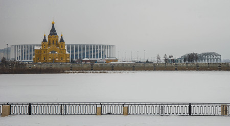 Image of Alexander Nevsky Cathedral on Spit in Nizhny Novgorod, Russia 免版税图像