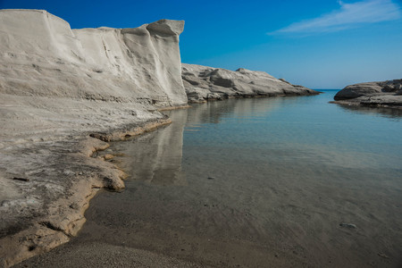 Unique and beautiful white moonscape beach Sarakiniko at Milos island in Greece