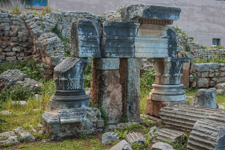Image of greek ruins in ancient Corinth on Peloponnese in Greece