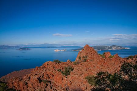 Beautiful seascape on peninsula of Methana on Peloponnese in Greece