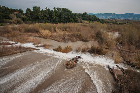 Image of spill on dam near ancient Olympia on Peloponnese in Greece