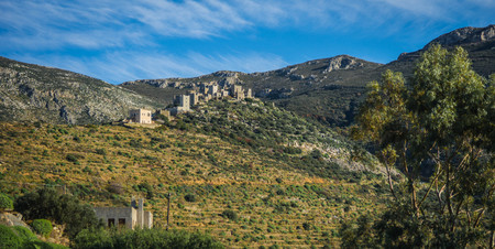 Image of abandoned ghost city of Vatio in inner Mani on Peloponnese in Greece