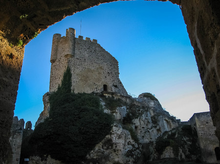 Image of remains of a ruined castle in town of Frias in province of Burgos in Castilla y Leon in Spain