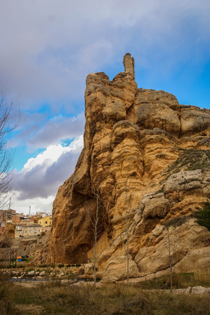 Image of strange rock formations around city of Aurol in province of Logrono in Castilla and Leone in Spain 免版税图像
