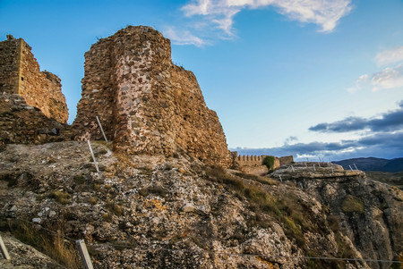 Image of remains of ruined castle at Clavijo in province of Burgos in Castilla y Leon in Spain 免版税图像