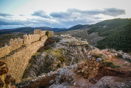 Image of remains of ruined castle at Clavijo in province of Burgos in Castilla y Leon in Spain Stock Photo