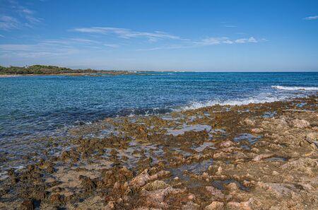 Beautiful deserted beach in Torre Guacheto in Puglia in Italy