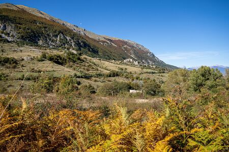Mountain view of village of Roccacaramanico in Abruzzo in Italy