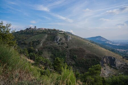 Mountain view of village of Caserta Veccia in Campania in Italy Stock Photo