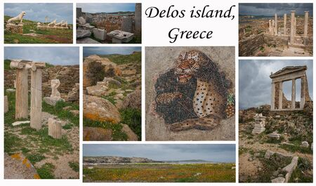 Collage of photos from the Greek island of Delos, Cyclades archipelago  on white background. All photos can be purchased separately on my page.