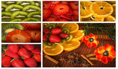 Collage of still life photos with oranges, kiwi, strawberry, cinnamon, anise and poppies Stock Photo