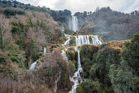 Image of Marble waterfall near Terni in Umbria in Italy Banco de Imagens