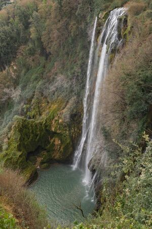 Image of Marble waterfall with low water near Terni in Umbria, Italy