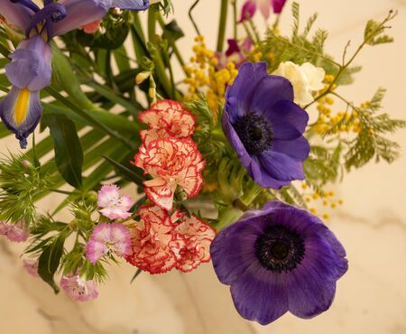 Image of bouquet of different spring multicolor flowers