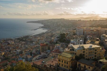 City view of Naples and sea from view point of fortress of Sant'Elmo in Italy