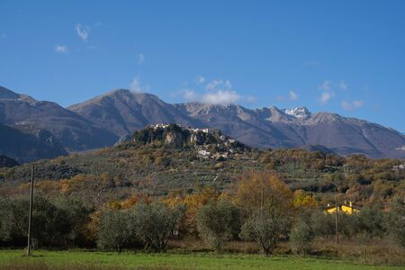 Picturesque mountain landscape with city of Castell San Vincenzo in Molise in Italy