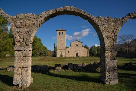 Scenic landscape with monastery in San Vincenzo al Volturno in Molise in Italy