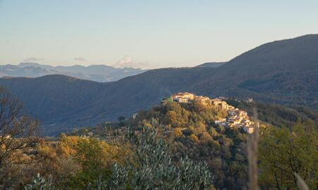 Picturesque mountain landscape with small town in Molise in Italy