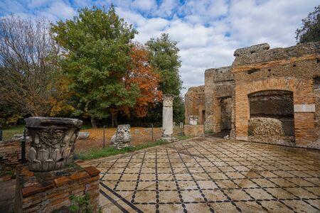 Image of roman ruins at Villa Adriana in Tivoli , Roma in Italy