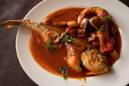 Image of neapolitan tomato-based seafood soup, Campania, Italy 스톡 콘텐츠