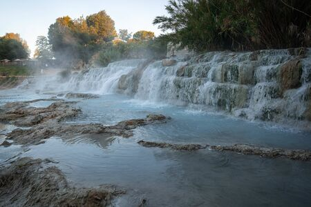 Saturnian natural spa with waterfalls and hot springs at  thermal baths in Tuscany in Italy
