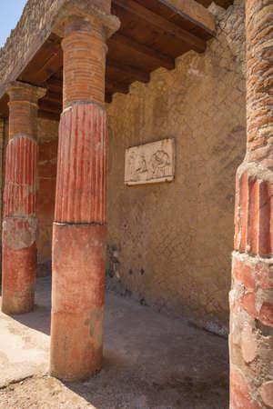Image of antique Roman ruins of Herculaneum remaining after eruption of Vesuvius, Campania, Italy
