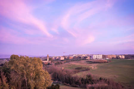 Sky with clouds at sunset in Rome in Italy