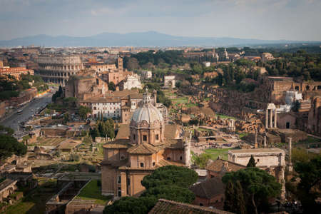 View of Rome from the Capitoline Hill in Italy Imagens