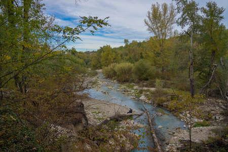 Image of sulfurous river at Lavino in autumn in Abruzzo in Italy