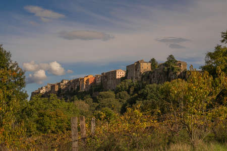 Picturesque cityscape in Orte, a small medieval town built on a high drop shaped cliff in Italy