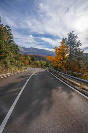 Bright colors In midst of autumn in Abruzzo mountains in Italy
