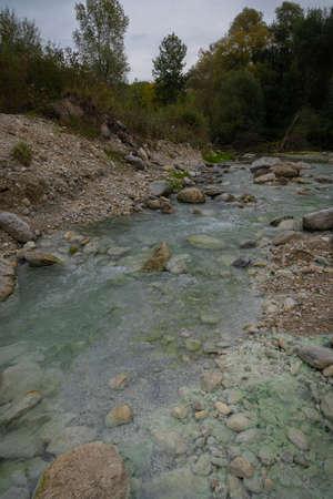 Image of sulfurous river at Lavino in autumn in Abruzzo in Italy Stock Photo