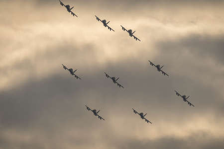 Rome, Italy - November 04, 2020, Acrobatic group of italian light attack aircraft training before the Republic Day parade in the sky of Rome, Italy