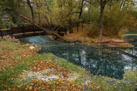 Image of sulfur water springs in Lavino in autumn in Abruzzo in Italy