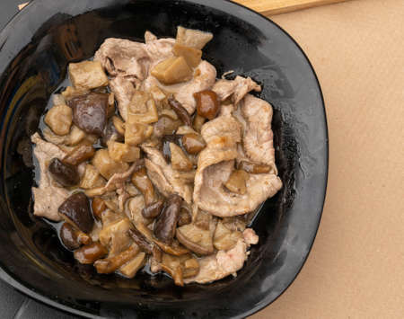 Image of thin cuts of beef cooked with seasonal mushrooms in black plate