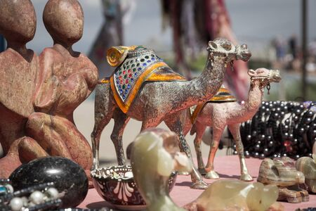 Souvenir Sales Booth with Camels and Figures