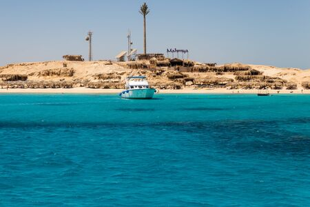 Mahmya island in red sea, driving towards the island
