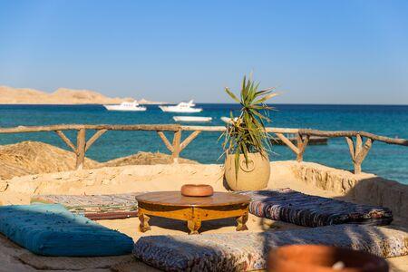 seaside lounge with stunning view on beach and yacht of Mahmya island egypt Reklamní fotografie