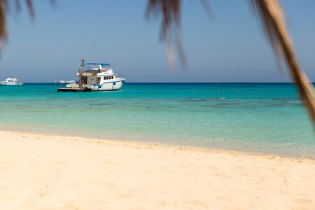 view from beach of Mahmya island with palm tree and boat Banco de Imagens