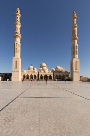 Hurghada, Egypt - September 27, 2016: Front view of the Mosque in Hurghada with minaret on a sunny day