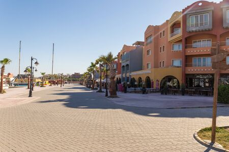 Hurghada, Egypt - December 6, 2018: View on Harbor and New Marina boulevard in Hurghada