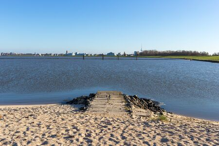 View from the location of the Kugelbaken to the bay and town of Cuxhaven