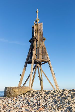 North Sea Germany Cuxhaven, Kugelbake is an old sea sign and important landmark of Cuxhaven, popular tourist destination
