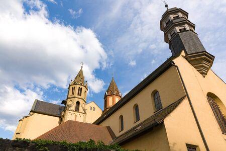 Towers and Main Building of Parish Church St. Burkard Wuerzburg Germany