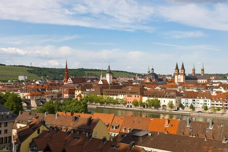 WUERZBURG, GERMANY - May, 20, 2018: Panorama view of the Wuerzburg old town with river Main, Bavaria, Germany
