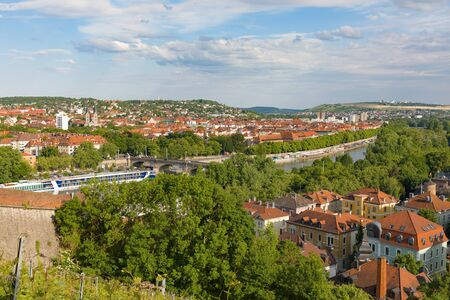 WUERZBURG, GERMANY - May, 20, 2018: Panorama view of the Wuerzburgwith river Main Bavaria Germany Standard-Bild - 137508296