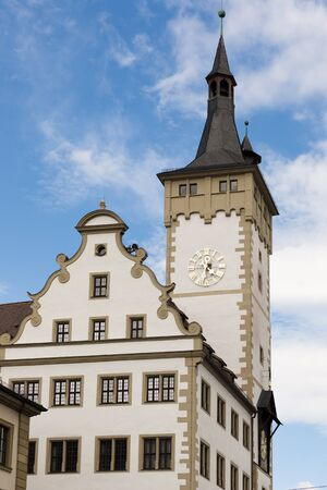 Tower of the Old Town Hall in Wuerzburg Bavaria, Germany Standard-Bild - 130814539