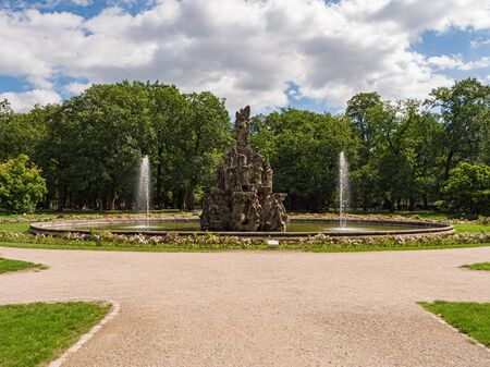 Erlangen, Germany, August 18, 2019: View of the fountain in the baroque palace garden in Erlangen Bavaria, Germany Editorial